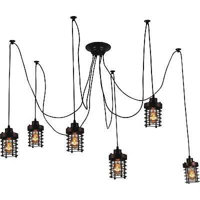 Chocolate-finished 6-light Rustic Chandelier with Individual Hanging Bulbs - eBay