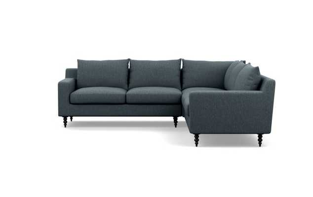 Sloan Corner Sectional with Rain Fabric and Matte Black legs - Interior Define