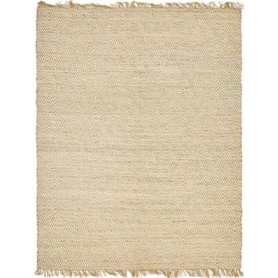 Braided Jute Natural 8' x 10' Rug, Ivory - Home Depot