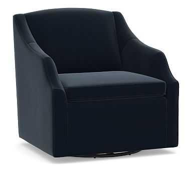 SoMa Emma Upholstered Swivel Armchair, Polyester Wrapped Cushions, Performance Plush Velvet Navy - Pottery Barn