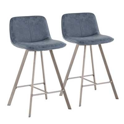 Sedona 26 in. Blue Fabric and Antique Metal Counter Stool (Set of 2), Blue/Antique - Home Depot