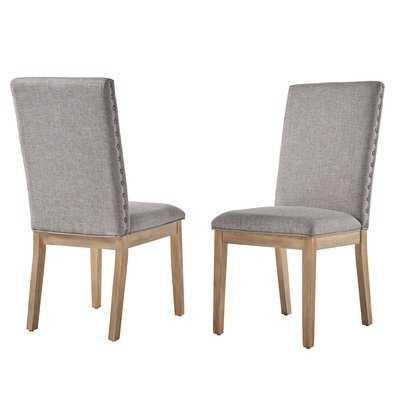 Tamarack Linen Nailhead Upholstered Dining Chair (Set of 2). Gray - Birch Lane