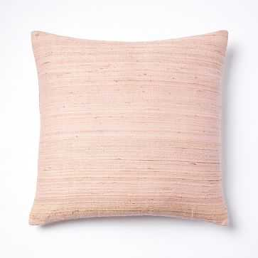 "Woven Silk Pillow Cover, 20""x20"", Pink Sorbet - West Elm"