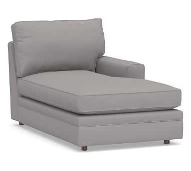Pearce Square Arm Upholstered Right-arm Chaise, Down Blend Wrapped Cushions, Performance Twill Metal Gray - Pottery Barn