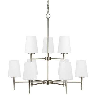 Sea Gull Lighting Driscoll 32 in. W 9-Light Brushed Nickel Multi Tier Chandelier with Etched White Glass Shades - Home Depot