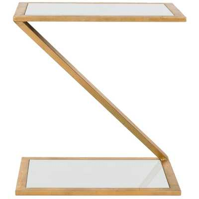 Andrea Gold and White Glass Top End Table, Gold/White - Home Depot