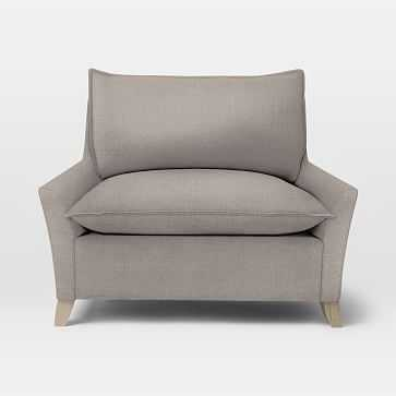 Bliss Down-Filled Chair-and-a-Half, Linen Weave, Platinum - West Elm