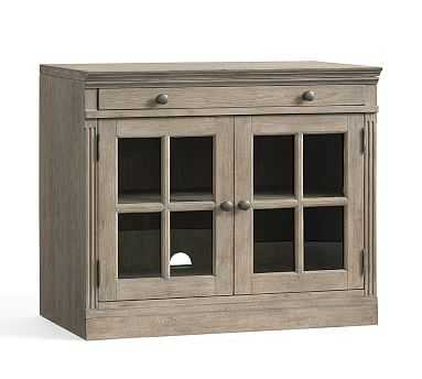 Livingston Double Glass Door Cabinet with Top, Gray Wash - Pottery Barn