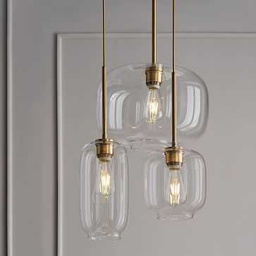 Sculptural Glass 3-Light Round Chandelier, S-M-L Pebble, Clear Shade, Brass Canopy - West Elm