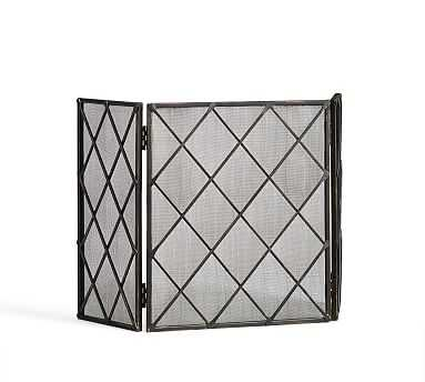 Lattice Hand Forged Metal Fireplace Triple Screen, Small, Blackened finish - Pottery Barn