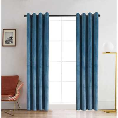 Lyndale Decor Regency 95 in. L x 52 in. W Semi-Opaque Room Darkening Polyester Curtain in Dusty Blue - Home Depot