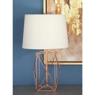 21 in. Modern Rose Gold Iron Wire Asymmetrical Prism Table Lamp - Home Depot