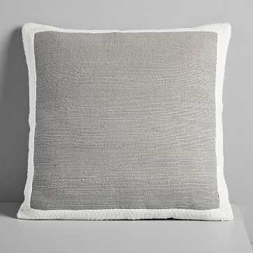 "Textured Border Pillow Cover, Platinum , 20""x20"" - West Elm"