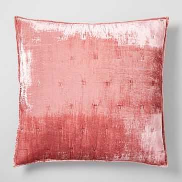 Lush Velvet Tack Stitch Euro Sham, Pink Grapefruit - West Elm