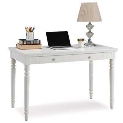 Leick Home Office Farmhouse Writing Desk with Center Drawer in White - eBay