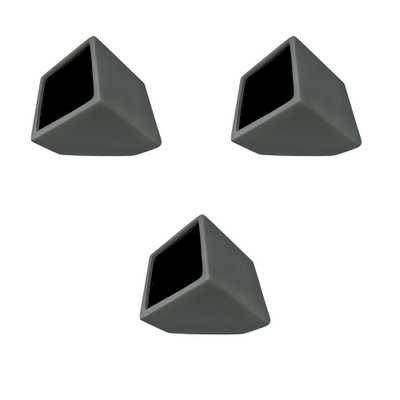 Cube 3-1/2 in. x 4 in. Dark Gray Ceramic Wall Planter (3-Piece), Dark Grey - Home Depot