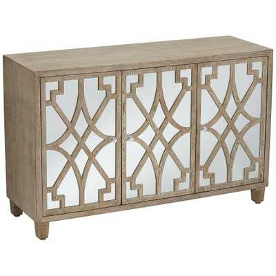 Rowan Mirrored and Whitewashed Fretwork 3-Door Chest - Style # 44T06 - Lamps Plus