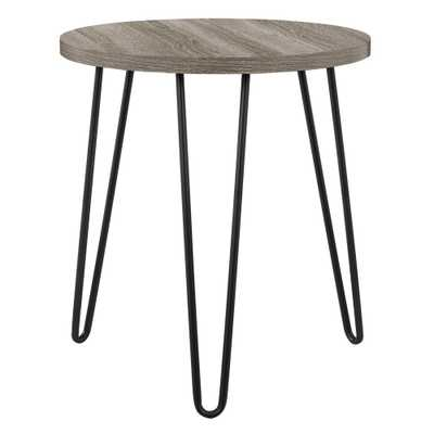 Montrose Weathered Oak Retro Round End Table - Home Depot