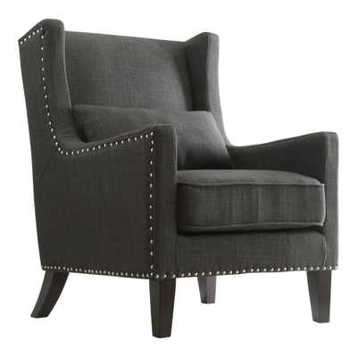Ashley Charcoal (Grey) Linen Wing Back Arm Chair - Home Depot