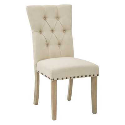 Preston Dining Chair in Marlow Burlap Fabric with Antique Bronze Nailheads and Brushed Legs - Home Depot