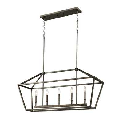 Millennium Lighting 3245-AS 5-Light 40 in. Wide Taper Candle Antique Silver Chandelier - Home Depot