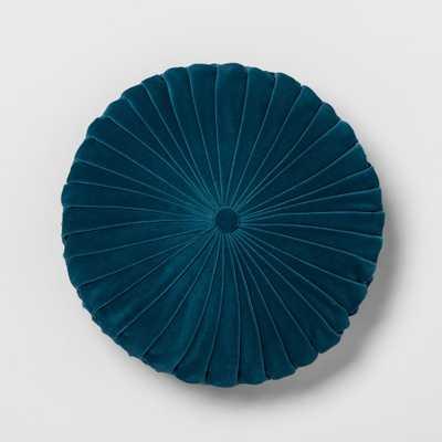 Teal (Blue) Pleated Velvet Round Throw Pillow - Opalhouse - Target