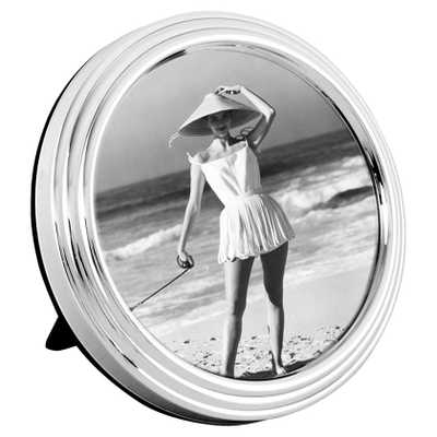 Eichholtz Industrial Loft Chatwin Round Silver Steel Photo Frame - Kathy Kuo Home