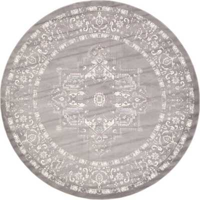 Arcadia Light Gray 8 ft. x 8 ft. Round Area Rug - Home Depot
