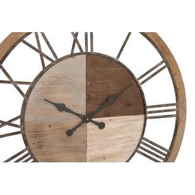 "Oversized Wood and Metal 36"" Wall Clock - Wayfair"