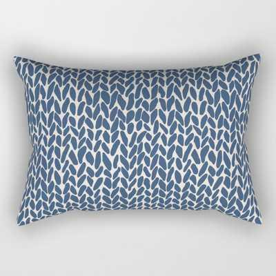 "Hand Knit Navy Rectangular Pillow - Small (17"" x 12"") - Society6"