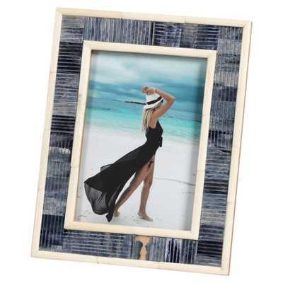 "Eli Coastal Beach Carved Blue and White Bone Photo Frame, 5x7"" - Kathy Kuo Home"
