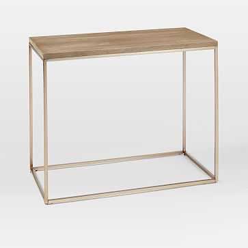 Streamline Narrow Side Table, Whitewash Mango, Light Bronze - West Elm