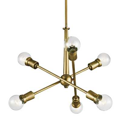 "Kichler Armstrong 20"" Wide Natural Brass 6-Light Chandelier - Style # 42K43 - Lamps Plus"