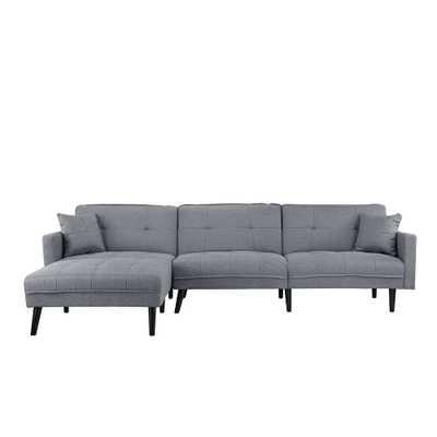 Linen/Wood Mid-century 2-pillow Futon Sectional Sofa: Light grey - eBay