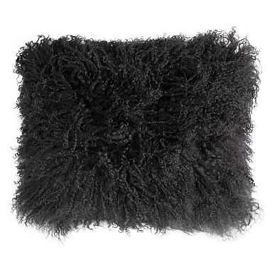 Mongolian Fur Pillow Cover, 12 x 16, Vintage Ebony - Pottery Barn Teen