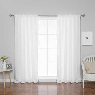Best Home Fashion 96 in. L Polyester Oxford Thin Dove Border Curtains in White (2-Pack) - Home Depot