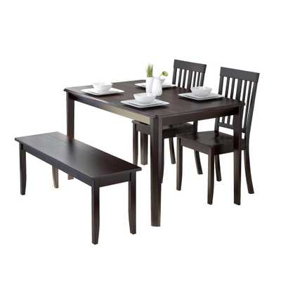 Atwood 4-Piece Dining Set with Cappuccino Stained Bench and Set of Chairs - Home Depot