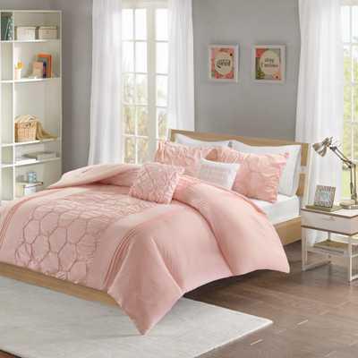 Shayda 5-Piece Blush Full/Queen Solid Comforter Set - Home Depot