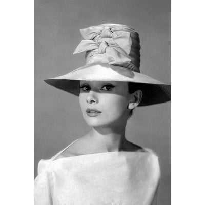 Radio Days 'Audrey Hepburn in A Tall Two-Bowed Hat' Photographic Print on Canvas - Wayfair