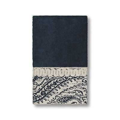 Authentic Hotel and Spa Turkish Cotton Paisley Jacquard Midnight Blue Hand Towel - eBay