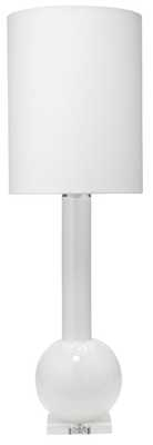 Studio Table Lamp in White Glass with Tall Thin Drum Shade in White Linen - Jamie Young
