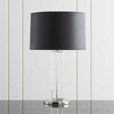 Gleam Crystal/Nickel Black Shade Table Lamp - Crate and Barrel