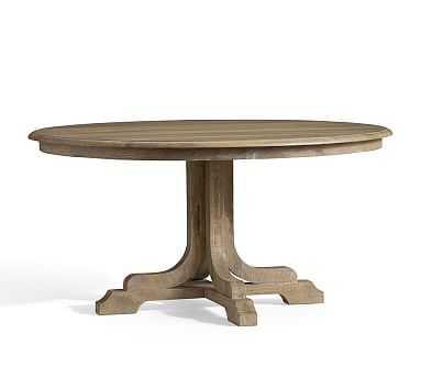 Linden Fixed Pedestal Table, Grey - Pottery Barn