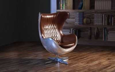 Swivel Egg Chair in Leather Accent Lounge Chairs w/ Reclining Tilt Lock, Brown - eBay