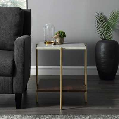 """Walker Edison 20"""" Square Side Table - Marble/Gold - Home Depot"""