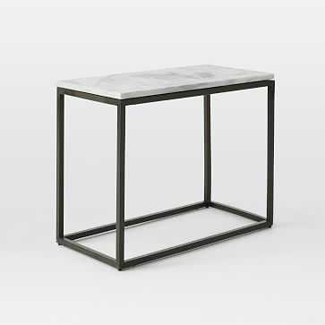 Box Frame Narrow Side Table, Marble/Antique Bronze - West Elm