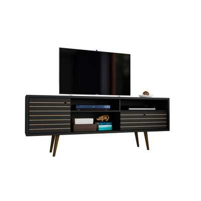 Liberty 70.86 in. Black 4-Shelf TV Stand - Home Depot