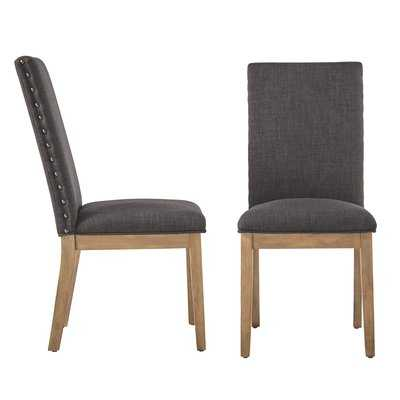 Tamarack Linen Nailhead Upholstered Dining Chair - Birch Lane