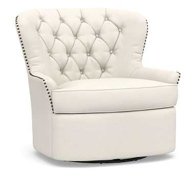 Cardiff Upholstered Tufted Swivel Armchair, Polyester Wrapped Cushions,, Performance Heathered Tweed Ivory - Pottery Barn