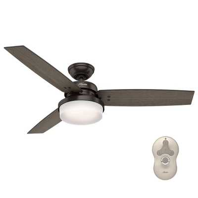 Hunter Sentinel 52 in. LED Indoor Premier Bronze Ceiling Fan with Light Kit and Universal Remote - Home Depot